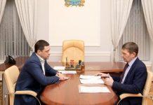 Врио губернатора Псковской области Михаил Ведерников и глава Гдовского района Юрий Павлов